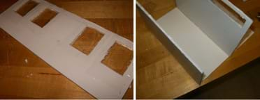 Two photos: (left) A rectangle of white foam core board representing the front façade of a house, with packing tape covering both sides of two cut-out openings. (right) Two side walls are attached vertically to two edges of a rectangular foam core base.