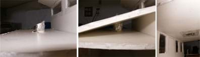 Three photos: (left) A foil-covered strip of angled paper extends above a ceiling board. (middle) The same foil-covered strip further extended through a hole cut in an angled roof board. (right) View of the solar tube from inside the model house; clear wide packing tape secures it to the ceiling.