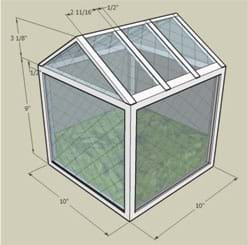 A 3-D drawing shows a 10 x 10 x 9 foot tall square building with a simple center-peak pitched roof.