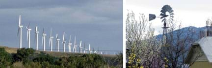 Two photos: A line of more than 15 gigantic, white, three-blade wind turbines on a high plateau (left), and a much shorter silver, metal 20-blade turbine with a perpendicular rudder blade next to a barn.