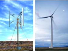 Two photos of tall wind turbines in open fields, one with blades that spin around the vertical center pole (left), and the other with three blades that spin like a pinwheel (right).
