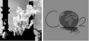 Two images: A photo shows emissions from tall smoke-stack towers of a power plant, and the hand-written letters C-O-2 with the Earth filling the inside of the O.
