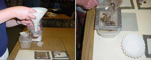 "A photograph showing the activity ""filters"" in use. On the left is a picture of a person using a funnel to filter waste. On the right is a picture of a person pouring large pebbles onto a screen with fairly large-sized holes."