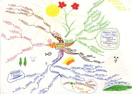 A drawing that starts in the center with a topic heading, and branches out in all directions with main points, keywords, examples and data indicated on the branches that fill up an entire page.