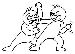 Line drawing of two people fighting, punching each other.