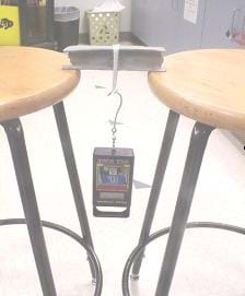 This photograph shows a seven-inch clay I-beam sitting on the edges of two stool seats, spanning a six-inch gap between the two stools, with a weight hanging from a loop of string placed around the middle of the beam.