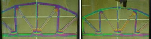Two photographs of the same plastic arched bridge structure showing a rainbow of colors at the stressed bridge support junction locations (left photograph) and in reaction to the stress exerted by a finger pushing down on the top arch support (right photograph).
