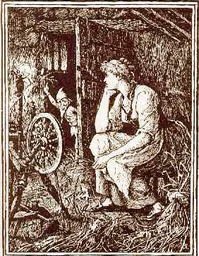 A beautiful illustration showing a girl and her spinning wheel surrounded by straw, and a little gnome peeking into the room through a doorway.
