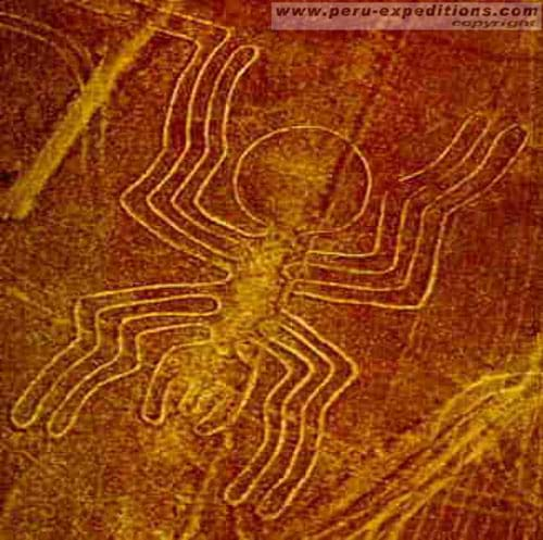 Sepia-colored photograph of what looks like a spider shape formed in the surface of the Earth.