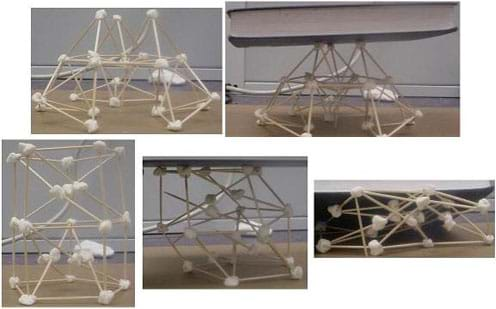This series of photographs shows two structures made of toothpicks and marshmallows. The first structure is able to hold the weight of a book; the second structure collapses under the weight of the same book.