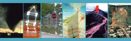 Six images: (left to right) Photo of a TX tornado's black funnel cone looking huge in a street scene with telephone poles, photo of homemade mini-marshmallow-toothpick structure wobbling on a bed of Jello-O, photo shows a Clarksville, MO, street intersection submerged in Mississippi River water, cutaway diagram shows underground layers and parts of a volcano, photo shows red lava spewing and flowing down a Kilauea, HI, slope, aerial photo shows hillside and road that slid down into a La Conchita, CA, neighborhood of houses.