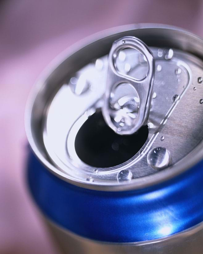 Photo shows of the pop top of an aluminum beverage can.