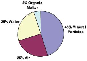 A pie chart shows 45% mineral particles, 25% air, 25% water and 5% organic matter.