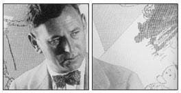 A two-panel, black and white photograph of a white man with short hair and a bow tie.