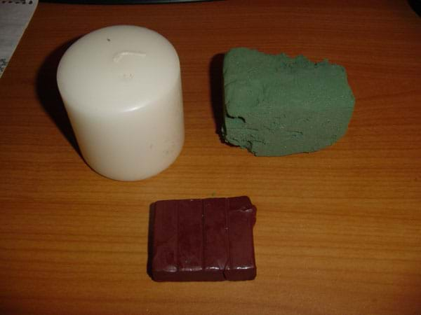 Photograph of a three blocks of material.