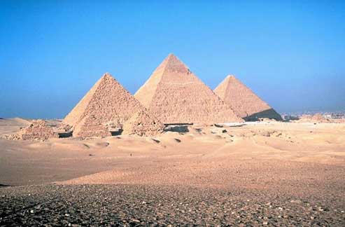 Photo of six pyramids of various sizes.