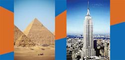 Two photos: Two enormous, pointed sand-covered Egyptian pyramids. The Empire State Building towering over New York City.