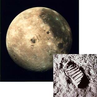 Photo of a three-filter color image of the Moon overlaid with a black and white photo of an astronaut footprint on the Moon surface.