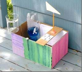 Photo shows a painted cardboard box with a collector cup, inverted 2-liter bottle and a flag.