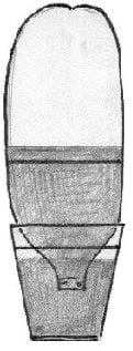 A sketch shows a 2-liter bottle inverted with its neck in a container of water. The water level in the inverted bottle is above a marked line on the bottle.
