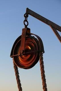 A red pulley.
