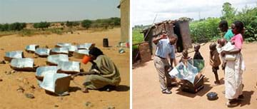 Two photographs: More than 10 solar cookers, each filled with water, in a dry dirt field. A family of three adults and four children around a solar oven near a hut.