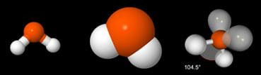 """On a black background, a molecule of H2O is depicted graphically in three ways. The """"ball-and-stick"""" model looks like it is composed of thick sticks with round ends. The """"space-filling model looks like a three-bump balloon. The valence shell electron pair repulsion theory (VSEPR) version looks like thin sticks with balloon-like ends."""
