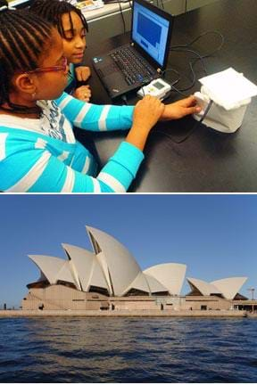 Two photos: Two students at a table view data on a laptop being logged from a temperature sensor testing cotton balls. Side view of the Sydney Opera House at the water's edge, showing a roof with the shape of five vertical shells or sails of different sizes facing opposite directions.