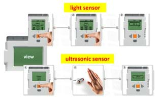 Screen capture images show a computer view window and six peripherals, one for the light sensor and another for the ultrasonic sensor.
