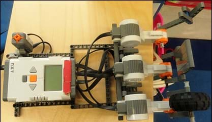 The LEGO MINDSTORMS NXT robot for the rock-paper-scissors activity.