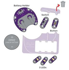 A diagram of the LilyPad ProtoSnap shows assorted pieces that were punched out of a plastic panel: battery holder, switch, button, and three LEDs, plus a nearby 3V CR2032 lithium coin battery. An arrow indicates that the plastic sheet from which they were separated may be discarded in the trash.