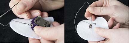 Two photographs show hands sewing on a three-inch round white felt circle with a needle and conductive thread. On the left, stitches secure the battery holder to the felt. On the right, stitches secure a LED board on the opposite side of the same felt piece.