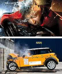 Two photos: The head of a crash dummy seen through a car windshield after impact, with the head resting on cracked glass. The side view of a yellow Mini Cooper car that has crashed into a wall, with its front end crumpled.