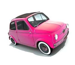A photograph shows a cute little pink car with a sunroof.