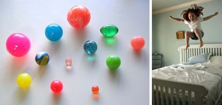 Two photos: (left) 12 plastic balls of varying colors, sizes, shapes and materials. (right) A girl bounces on her bed.