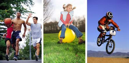 Three photos: (left) Three men running as they play basketball. (middle) A girl uses a sit-down bouncy ball on a lawn. (right) A BMX bike rider with both wheels off the ground.