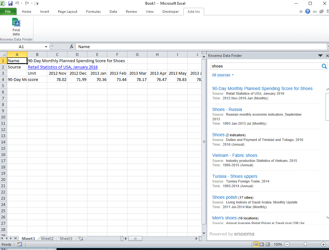 """A screen capture shows an Excel spreadsheet with Knoema add-in search results for a """"shoes"""" query."""