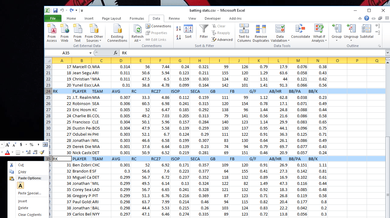A screen capture of an Excel spreadsheet data import with extraneous information.