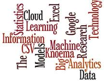 """A """"Wordle"""" graphic shows 16 related words scattered about with different orientations. The words are: information, statistics, cloud, learning, excel, CVS, the, models, big analytics, data, machine, knoema, google, research, technology."""