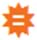 The Wolfram Alpha icon, which looks like an orange 10-pointed star with a white equals sign (two short, stacked horizontal bars) inside.