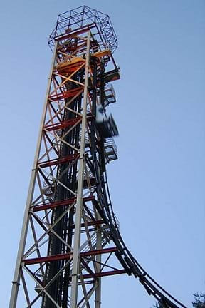 Photo shows the tall Freefall amusement park ride at Six Flags Over Georgia where riders are rapidly accelerated due to the forces of gravity. The ride has since been closed and removed.