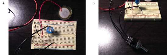 Two photos: The same breadboard as in Figure 5, now with a three-wire toggle switch connected to it. Another view of the same setup shows the toggle switch connected to the breadboard.