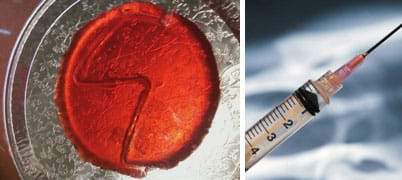 Two photos: A round layer of red JELL-O on a metal plate; a zig-zag channel runs through the JELL-O. A plastic syringe.