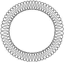 A line drawing of a donut-shaped loop of wire, with smaller loops making up the big loop.