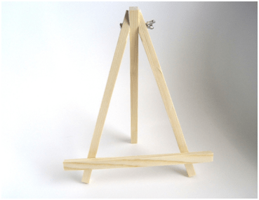 a wooden picture frame stand