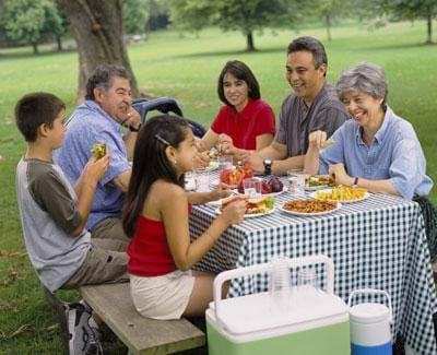 Photo shows a family of six people having a picnic in a park. They are sitting at a picnic table with a cooler and thermos nearby.