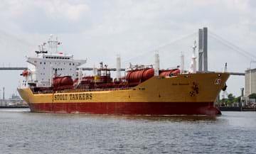 A large ship at port.